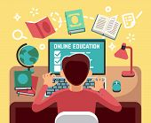 Student Or School Boy Studying On Computer. Online Lesson And Education Vector Concept. Student At C poster