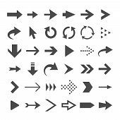 Arrow Web Icons Isolated, Cursor Arrows, Download And Next Page Navigation Buttons Vector Set. Inter poster