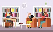 Students Reading And Searching Books In Public Library Interior With Bookshelves Cartoon Vector Illu poster