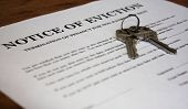 image of eviction  - Letter stating Notice of Eviction with house keys - JPG