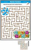 Maze Game For Children With Bees The Nectar Hunters: Help The Bees Get To The Meadow Flowers. Answer poster