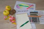 Concept Of Diet. Low-calorie Fruit Diet. Diet For Weight Loss. Notepad, Pen, Measuring Tape And Frui poster