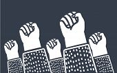 Vector Cartoon Illustration Of Clenched Fists Raised In Protest. Protest, Strength, Freedom, Revolut poster