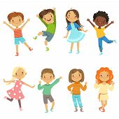 Childrens Playing. Vector Funny Characters Isolate On White. Illustration Of Character Boy And Girl, poster