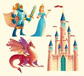 Vector Set Of Fantasy, Fairy Tale Game Design Objects Isolated On White Background. Knight In Armor, poster