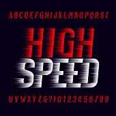 High Speed Alphabet Font. Wind Effect Type Letters And Numbers On Dark Background. Stock Vector Type poster