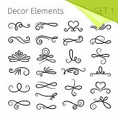 Calligraphy Scroll Elements. Decorative Retro Flourish Swirled Vector Elements For Letters, Simple S poster