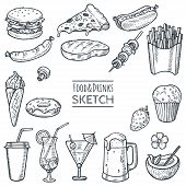Food And Drinks Vector Hand Drawn Sketch Set. Hand Drawn Fast Food, Drinks, Desserts, Snacks. Doodle poster
