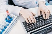 Partial View Of Scientist In Lab Coat And Medical Gloves Typing On Laptop At Workplace With Reagents poster