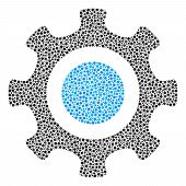 Cogwheel Composition Of Small Circles In Various Sizes And Color Tones. Circle Elements Are Organize poster
