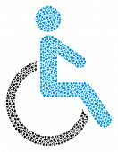 Disabled Person Collage Of Round Dots In Different Sizes And Color Shades. Circle Dots Are Organized poster