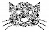 Kitty Mosaic Of Dots In Variable Sizes And Color Hues. Small Circles Are Organized Into Kitty Vector poster