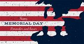 Happy Memorial Day. Vintage Retro Greeting Card With Flag And Soldier With Old-style Texture. Nation poster