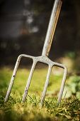 Digging Fork In The Garden, Gardening Tool For A Gardener, Copyspace poster