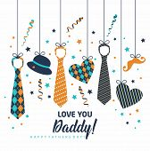Happy Father S Day, Holiday Card With Ties. poster