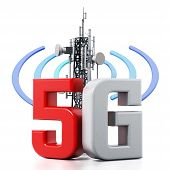 5g Text And Telecommunications Tower With Wave Symbols. 3d Illustration. poster