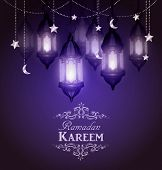 Ramadan Kareem, Greeting Background With Hanging Stars Moons And Lights Vector poster