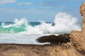 Sea Waves Crashing Against The Rocks, Tantura Nature Reserve, Northern Israel poster