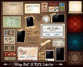 Постер, плакат: Старинный Stuff экстремальных коллекция 3 бесшовные обои пергамент фоторамки клейкие ленты