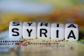 Word Syria Formed By Alphabet Blocks On Atlas Map Geography poster