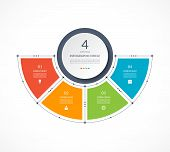 Infographic Semi Circle In Thin Line Flat Style. Business Presentation Template With 4 Options, Part poster