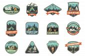Set Of Summer Camp Badges. Vector. Concept For Shirt , Print, Stamp, Travel Badges Or Tee. Vintage T poster