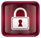 Lock Icon, Red, Isolated On White Background