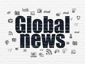News Concept: Painted Black Text Global News On White Brick Wall Background With  Hand Drawn News Ic poster