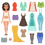 Flat Vector Set Of Women S Clothes Items. Stylish Denim Overall, Blouses, Skirts, Dresses, Stockings poster