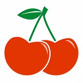 Cherry Icon On White Background. Flat Style. Sweet Cherries. Cherry Sign. poster