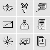 Set Of 9 Simple Editable Icons Such As Bars Chart Page, Analytics Settings, Balancing Data, Mobile S poster