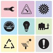 Set Of 9 Simple Editable Icons Such As Exclamation, Solar Battery, Triangle, Tipper, Bulb, Speedomet poster