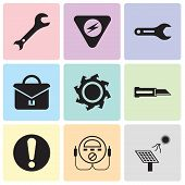 Set Of 9 Simple Editable Icons Such As Solar Battery, Energy Check, Exclamation, Knife, Saw Blade, P poster