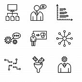 Set Of 9 Simple Editable Icons Such As User Interface, Mail Funneling, Strategy Sketch, Balancing Da poster