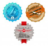 stock photo of float-plane  - Vector vintage labels with retro transport  - JPG