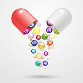 Vitamin Complex Pharmaceutical Capsule With Vitamins And Minerals. Vector Realistic Illustration. Me poster