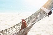 Woman Relaxing In The Hammock At The Beach. poster