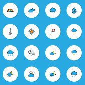 Weather Icons Colored Line Set With Sunlight, Weather After Rain, Moonbeam And Other Freeze Elements poster