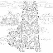 Alaskan Malamute Or Siberian Husky. Eskimo Dog Coloring Page. Adult Coloring Book Idea. Antistress F poster