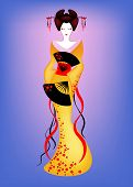 Portrait Of Japanese Or Asian Girl, Traditional Style With Japanese Kimono, Madama Butterfly Style.  poster