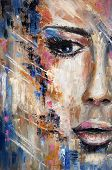 Abstract Painting Of A Woman Face  On Canvas.modern Impressionism, Modernism,marinism poster
