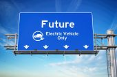 Our future with wlectric vehicle only green traffic road sign with symbol of electric car on sky bac poster
