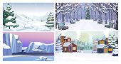 Nature In Winter Flat Vector Illustration Set. Winter In Mountains, Park, Glaciers, Country. Tourism poster
