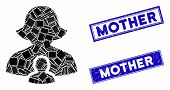 Mosaic Mother Icon And Rectangle Mother Seal Stamps. Flat Vector Mother Mosaic Icon Of Randomized Ro poster