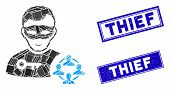 Mosaic Social Hacker Icon And Rectangular Thief Stamps. Flat Vector Social Hacker Mosaic Icon Of Sca poster