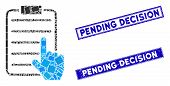 Mosaic Choose Page Items Pictogram And Rectangular Pending Decision Seal Stamps. Flat Vector Choose  poster