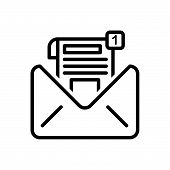 Black Line Icon For  Inbox-message Inbox Message Notification Communication Envelope Reminder poster