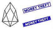 Mosaic Eos Currency Icon And Rectangle Money Theft Stamps. Flat Vector Eos Currency Mosaic Icon Of R poster