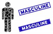 Mosaic Man Icon And Rectangle Masculine Stamps. Flat Vector Man Mosaic Icon Of Randomized Rotated Re poster