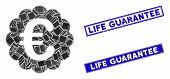 Mosaic Euro Quality Seal Pictogram And Rectangular Life Guarantee Seals. Flat Vector Euro Quality Se poster